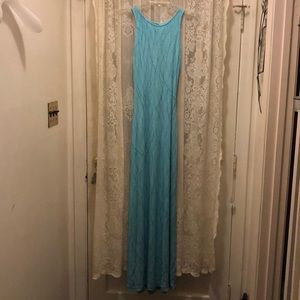 CACHE'-TURQUOISE GLITTER OPEN BACK LONG DRESS